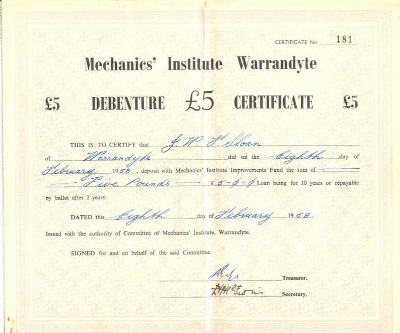 Wmiaa Gallery Hall 1958 Example Of Debenture Certificate